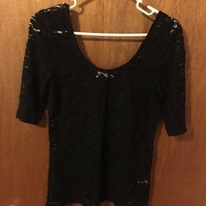 Mudd Black Lace T-shirt Large